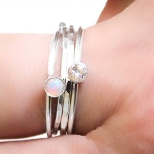 RESTOCKED Stacking Ring Set-Fire Opal/CZ - 925SS